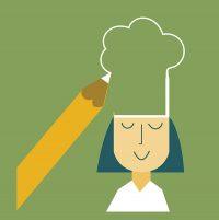 Piirroskuva, jossa tyttö kokkihattu päässään ja kynä piirtää hattua