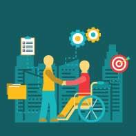 Piiirroskuvassa työnhakija pyörätuolissa ja työnantaja kättelevät